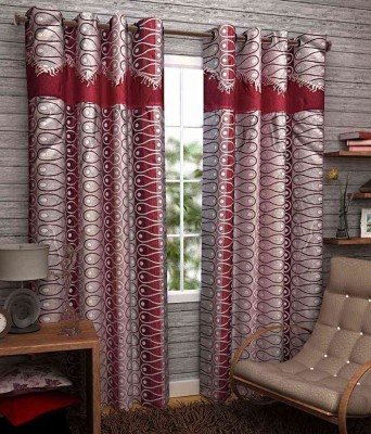 Divine Polyester Red Abstract Eyelet Door Curtain