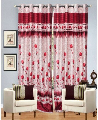 Ville Style Polycotton Red Floral Eyelet Door Curtain