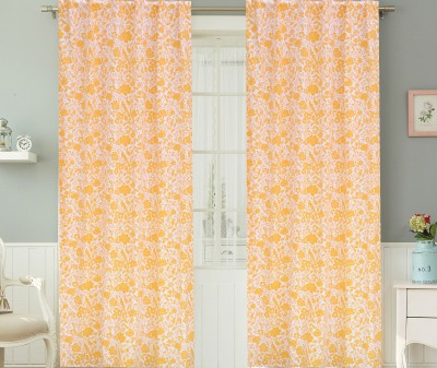 COLORS FOR LIVING Cotton Mustard Floral Concealed Tab Top Window Curtain