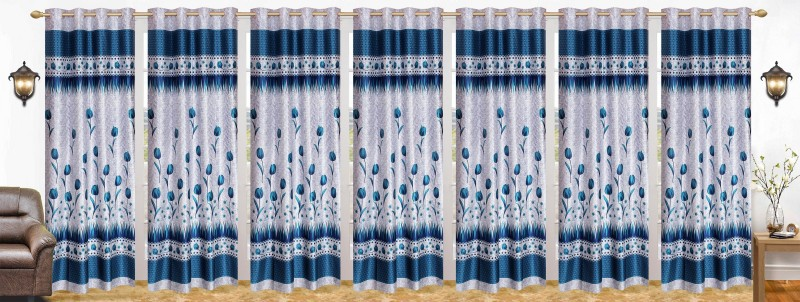 Stella Creations Polyester Light Blue Printed Eyelet Door Curtain(214 cm...