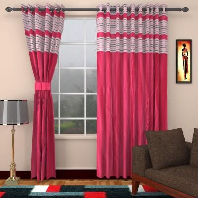 Jai Ganga Polyester Pink Plain Eyelet Door Curtain