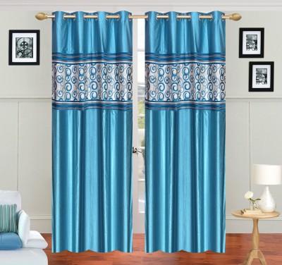 JH Polyester Light Blue Self Design Curtain Door Curtain