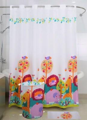 Skap Polyester White Animal Ring Rod Shower Curtain