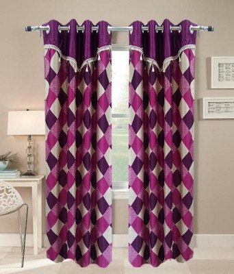 Jh Decore Polyester Purple Checkered Eyelet Door Curtain