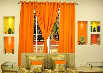 Ariana Cotton Orange Floral Eyelet Door Curtain
