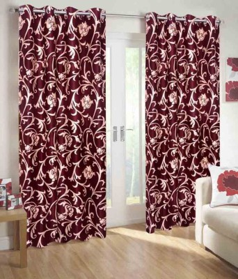 ABhomedecor Polyester Multicolor Abstract Eyelet Long Door Curtain