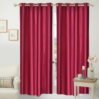 Home Fashion Polyester Maroon Plain Eyelet Door Curtain