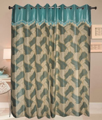 PHM Polyester Green Floral Eyelet Door Curtain