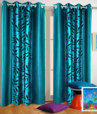 Angel Homes Polyester Blue Floral Eyelet Door Curtain