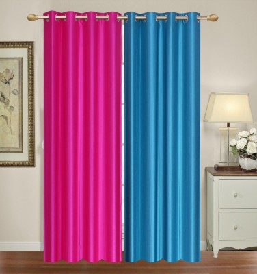 Furnishing Zone Polyester Blue, Pink Plain Eyelet Long Door Curtain