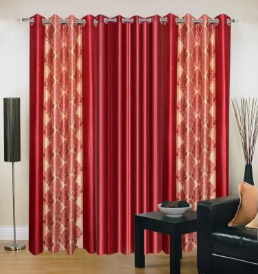 Brand Decor Polyester Maroon Abstract Eyelet Long Door Curtain