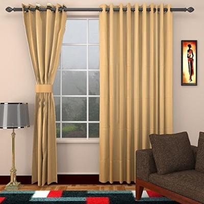 CPM HANDLOOM Cotton Beige Plain Eyelet Window & Door Curtain