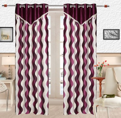 Comfort Zone Polyester Purple And White Abstract Eyelet Long Door Curtain