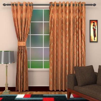 DBR Jacquard Multicolor Geometric Eyelet Window Curtain