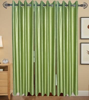 IndianOnlineMall Polyester Green Plain Eyelet Door Curtain