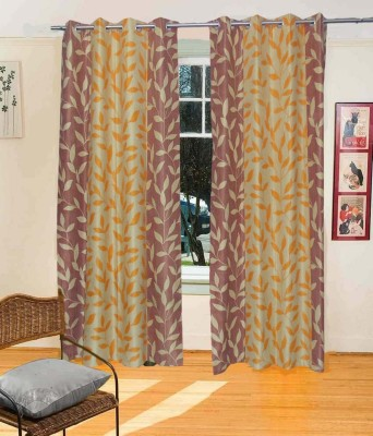 Fresh From Loom Polyester Multi Colour Floral Eyelet Door Curtain