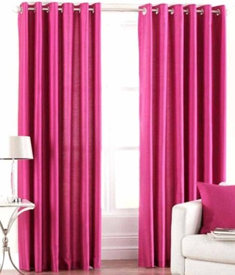 ALAGH FASHIONS Polyester Pink Plain Eyelet Door Curtain