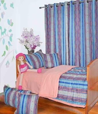 Aurraa Cotton Multicolor Motif Eyelet Door Curtain