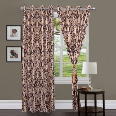 Homesazz Polyester Coffee Printed Eyelet Door Curtain