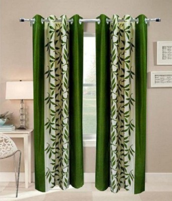 Z Decor Polyester Green Floral Tab Top Door Curtain
