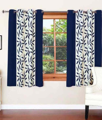 SLV Home Decor Polyester Navy Blue Floral Eyelet Long Door Curtain