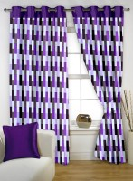 Story@Home Polyester Purple Printed Eyelet Window Curtain(152 cm in Height, Pack of 2)