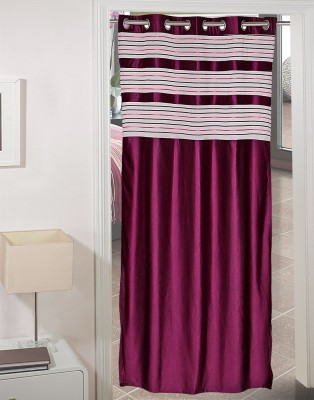 AJ Retails Polyester Stylish Purple, Chic White Striped Eyelet Door Curtain
