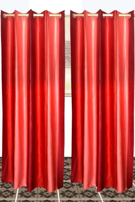 SS Decor Polyester Mehroon, Red Plain Eyelet Window & Door Curtain