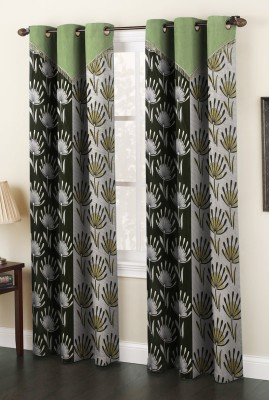 Home Cloud Polyester Green Abstract Eyelet Door Curtain