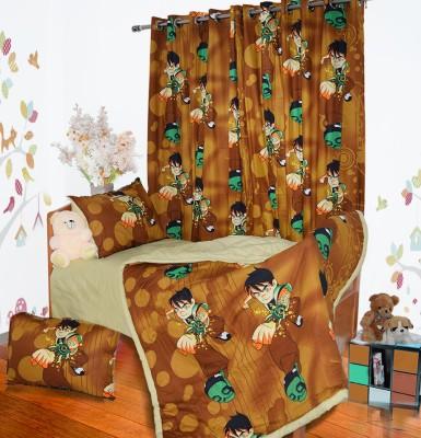 Aurraa Cotton Multicolor Solid Eyelet Door Curtain