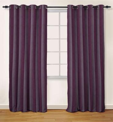 Oro Decor Polyester Purple Striped Eyelet Window Curtain