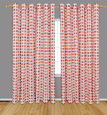 Home Boutique Cotton Orange and Pink Polka Eyelet Long Door Curtain