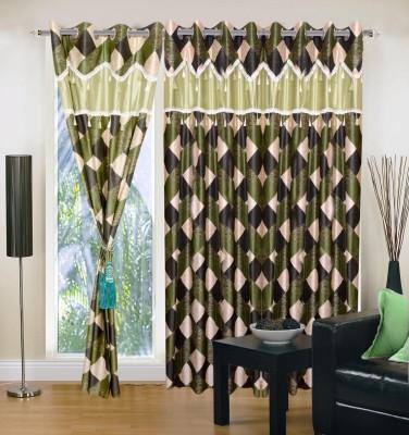 Creativehomes Polyester Multicolor Solid Tab Top Door Curtain