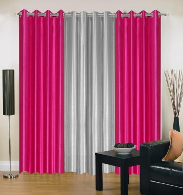 Brand Decor Polyester Beige, Silver Solid Eyelet Long Door Curtain