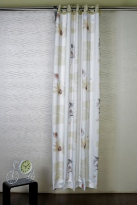 Bloom Polyester White, Brown Solid Eyelet Door Curtain