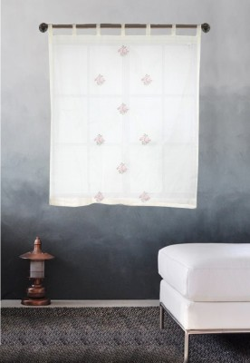 Milano Home Cotton Multicolor Striped Eyelet Window Curtain
