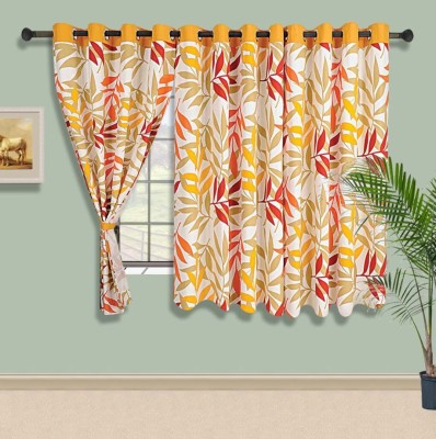 Swayam Cotton Yellow, Green Striped Eyelet Window Curtain