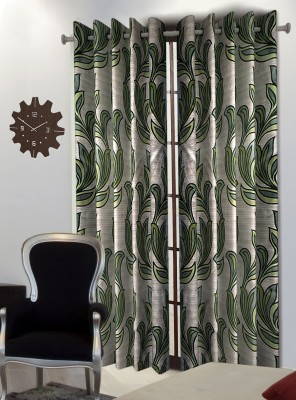 Home Blossoms Polyester Green Floral Eyelet Long Door Curtain