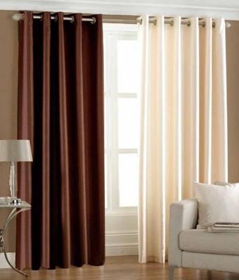 Trendz Home Furnishing Polyester Brown Plain Eyelet Door Curtain