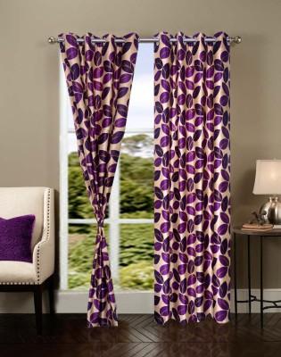 Shopgrab Polyester Lavender Floral Eyelet Door Curtain