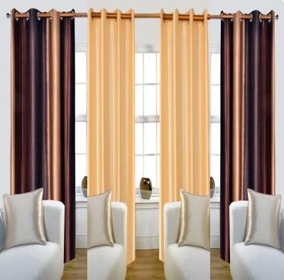 Glamora Interiors Polyester Multicolor Striped, Plain Eyelet Window & Door Curtain