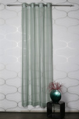 Homelife Polyester Green Solid Eyelet Door Curtain
