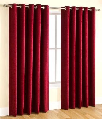 HandloomVilla Polyester Red Solid Eyelet Door Curtain