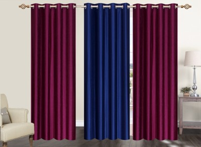 Furnishing Zone Polyester Maroon, Blue Plain Eyelet Long Door Curtain
