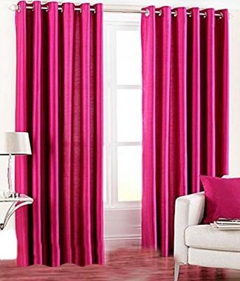 sajaawat Polyester Pink Abstract Eyelet Door Curtain
