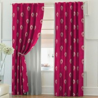 Solaj Cotton Red Embroidered Rod pocket Door Curtain(223 cm in Height, Single Curtain)