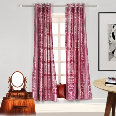 Splendid Polyester Onion Pink Floral Eyelet Long Door Curtain