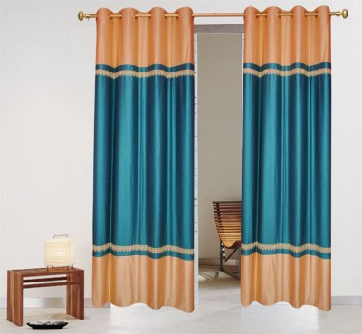 Batham Sales Blends Turquise Plain Eyelet Door Curtain
