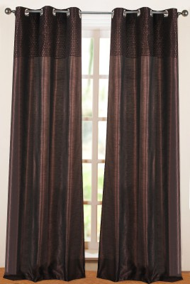 Deco Window Polyester Brown Floral Eyelet Door Curtain