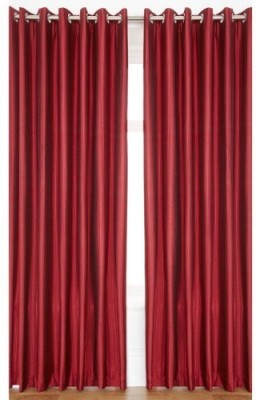 Brand Decor Polyester Maroon Solid Eyelet Long Door Curtain